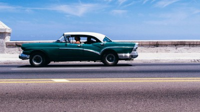 Cruising up the Malecon in Havana, Cuba