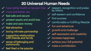 20 universal human needs
