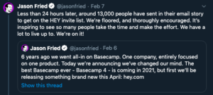 jason fried tweet about hey.com