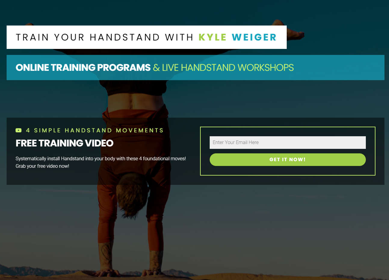 Kyle Weiger Handstand Training membership site
